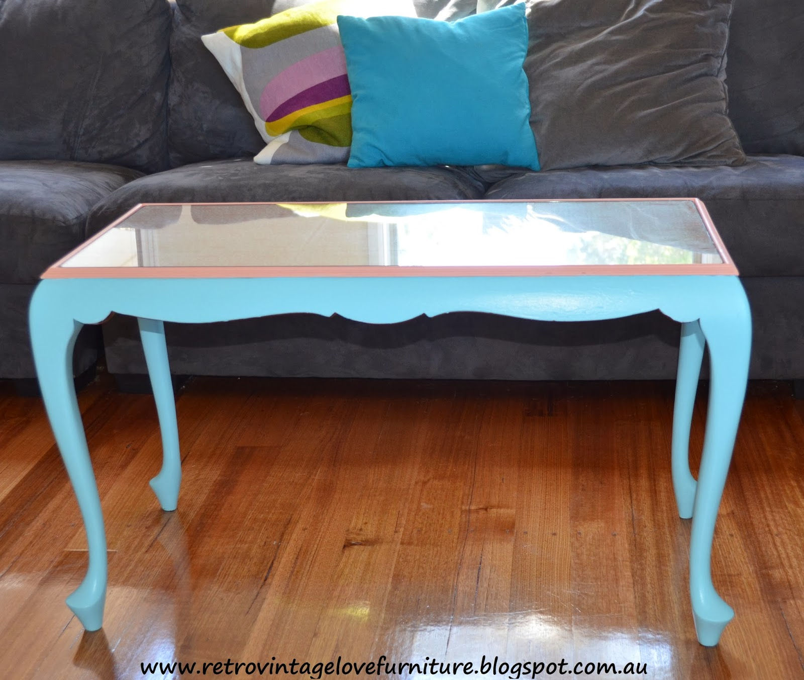 Retro Vintage Love Aqua and Coral Queen Anne Coffee Table with