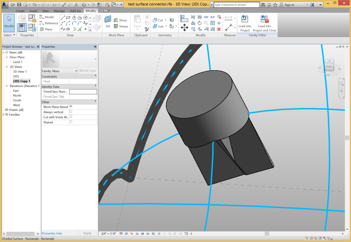 how to create a curved cylinder in revit