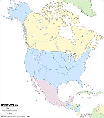 Mapa mudo de America del Norte