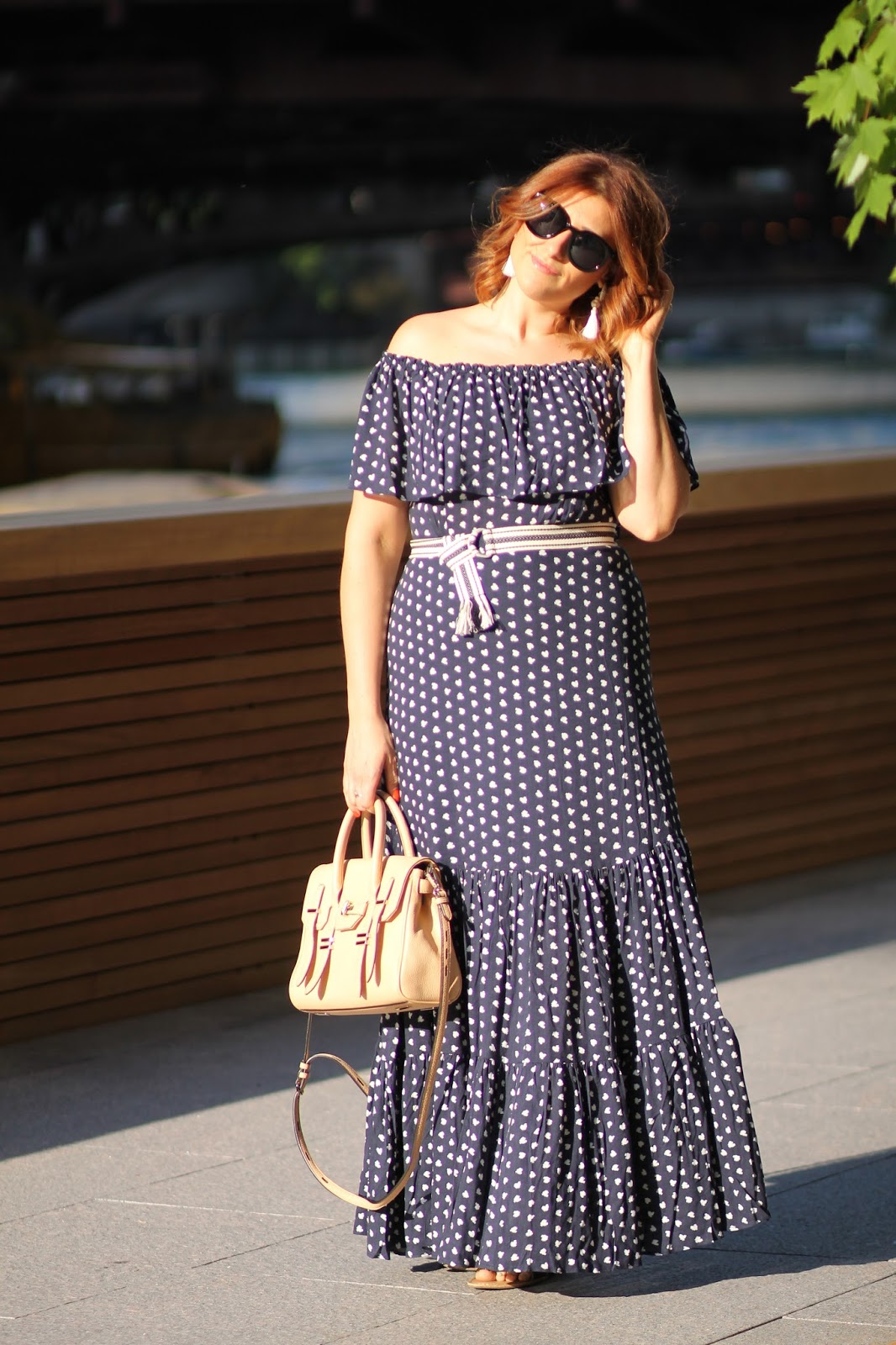 maxi, off, the, shoulder, dress, loft
