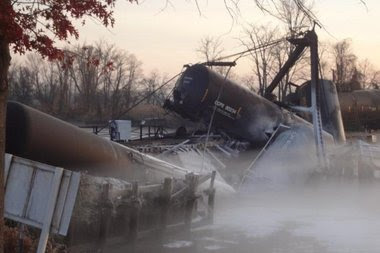 Derailed tank cars in Mantua Creek, Nov. 30, 2012