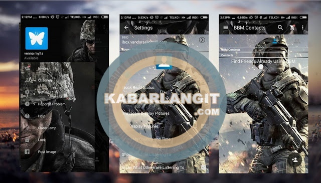 Download BBM Mod Thema Warface Terbaru