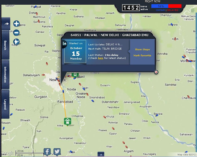 Screenshot of Rail Radar with info of selected train