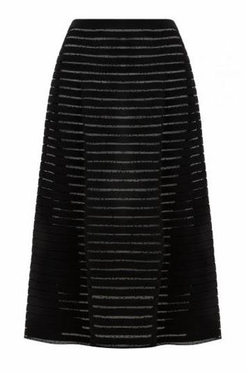 Crepe Mesh Midi Skirt
