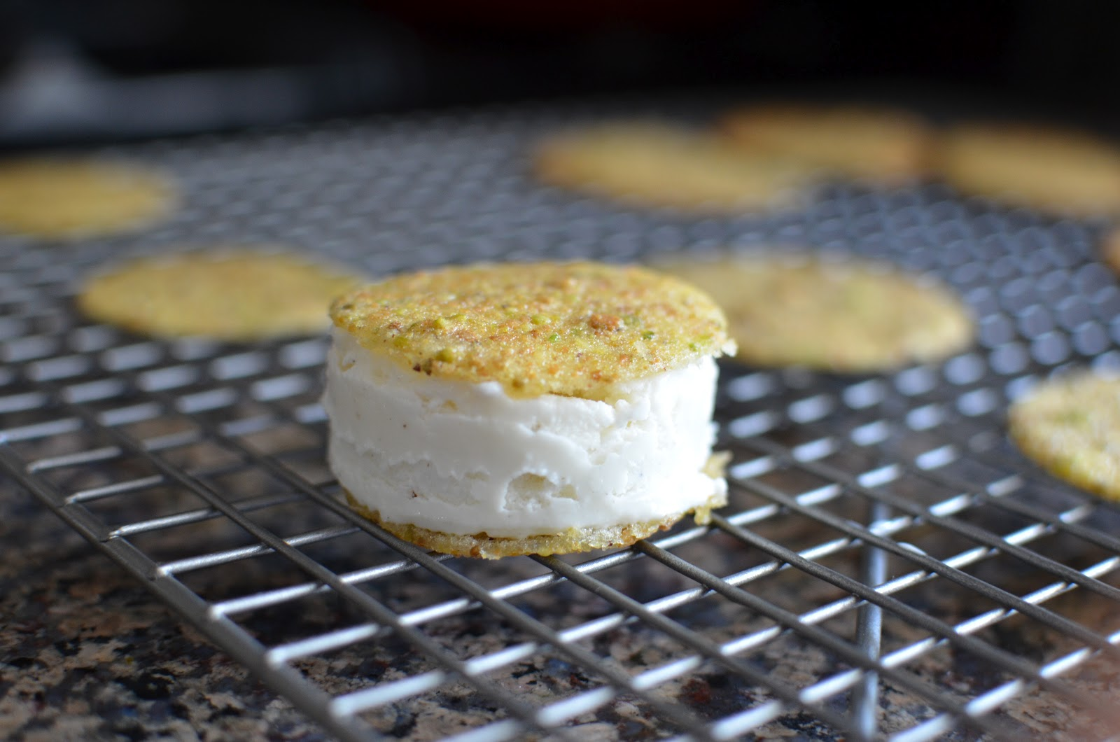 Pistachio tuile ice cream sandwiches