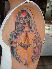 Tattoo art: Santa Muerte tattoos: various elements which can occur ...