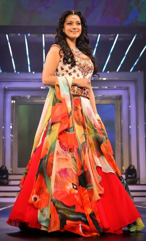 Bollywood Actress Juhi Chawla In Designer Tomato Red Lehenga