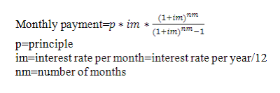 monthly payment formula used in Java amortization program