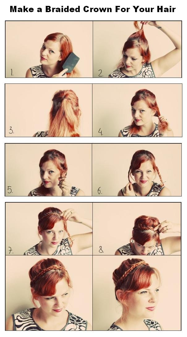 New Short Hair Styles: Make a Braided Crown For Your Hair