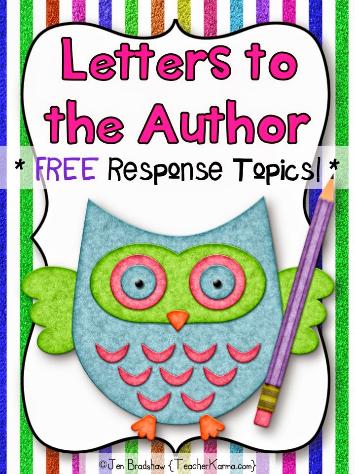 FREE Reading Response Journal ~ Writing Letters to the Author.  TeacherKarma.com
