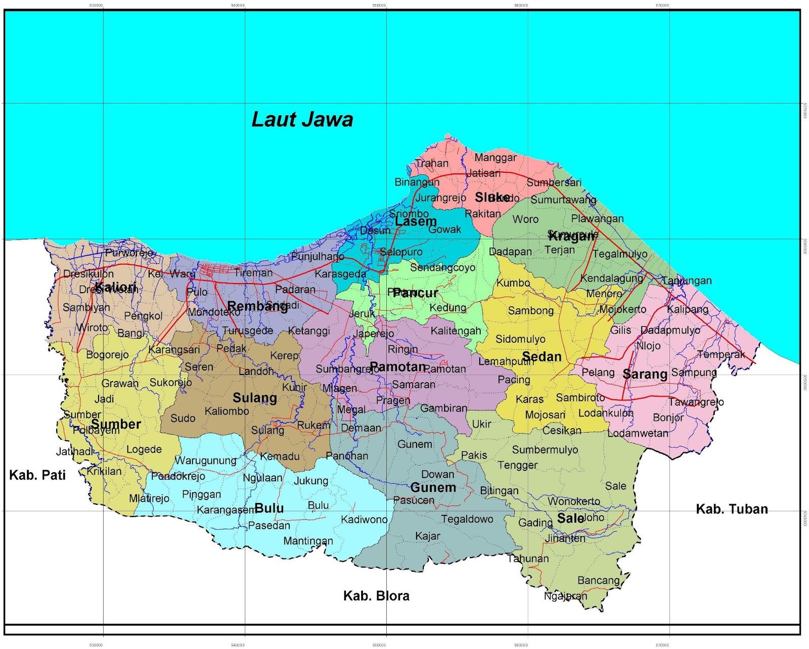Peta Kabupaten Rembang