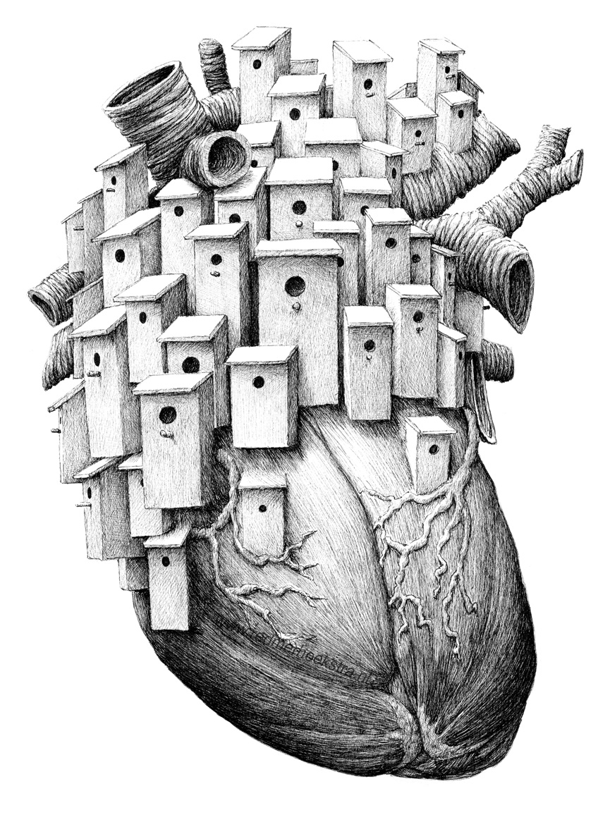 07-Bird-House-Heart-Redmer-Hoekstra-Drawing-Fantastic-and-Surreal-World-of-Hoekstra-www-designstack-co