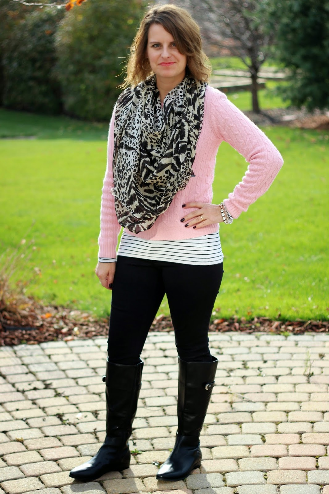 Fall look, fall outfit, pink sweater with leopard scarf, striped top, pattern mixing, gigi pants, black riding boots