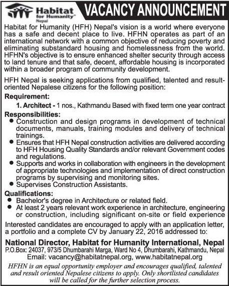 Architect Job Vacancy Habitat For Humanity Hfh Nepal