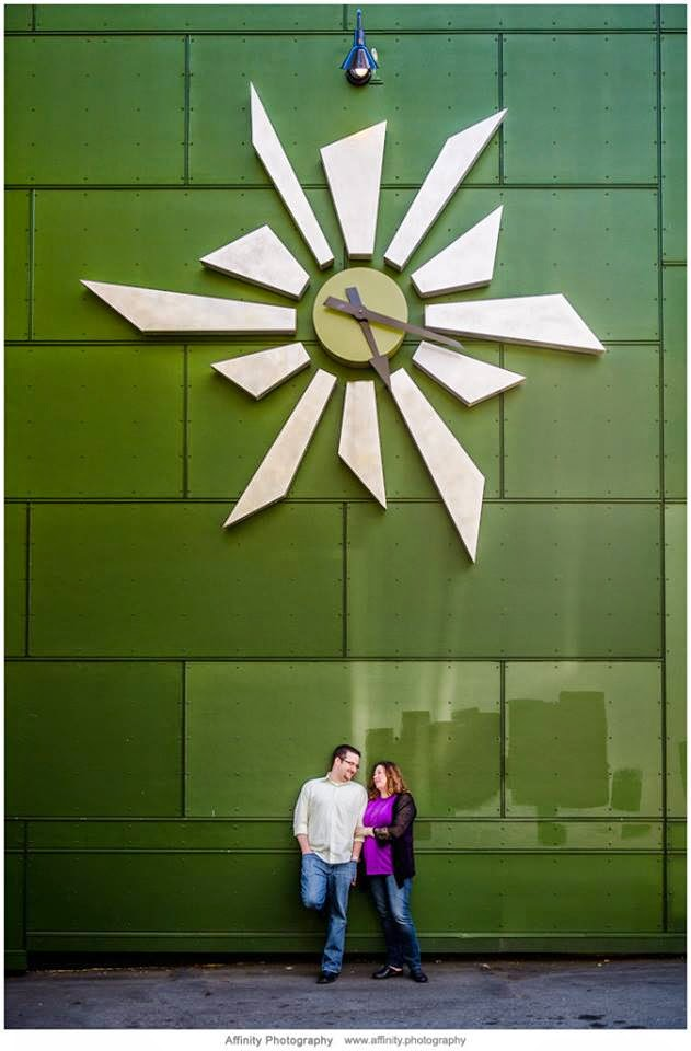 Shan and Kris plan a clock theme for their wedding - Patricia Stimac and Kent Buttars, Seattle Wedding Officiants