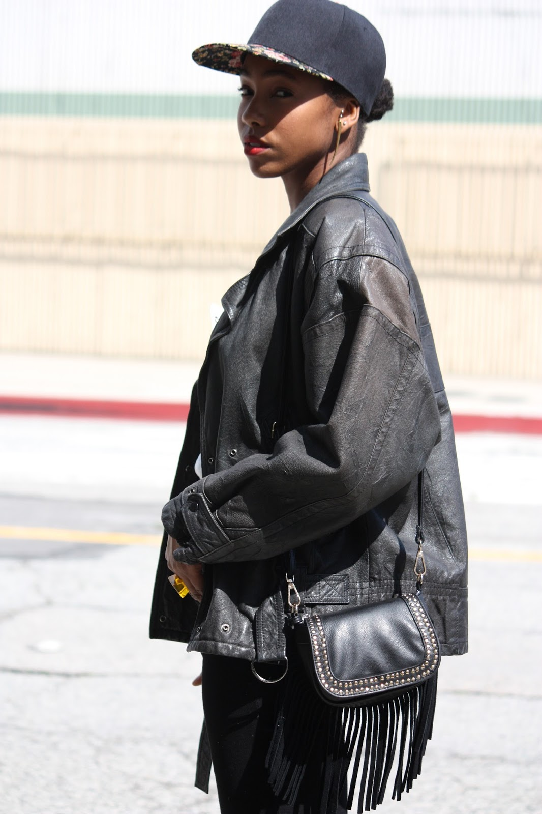 Wearing // vintage leather jacket, MAC Ruby Woo lipstick, Marshalls leather fringe bag