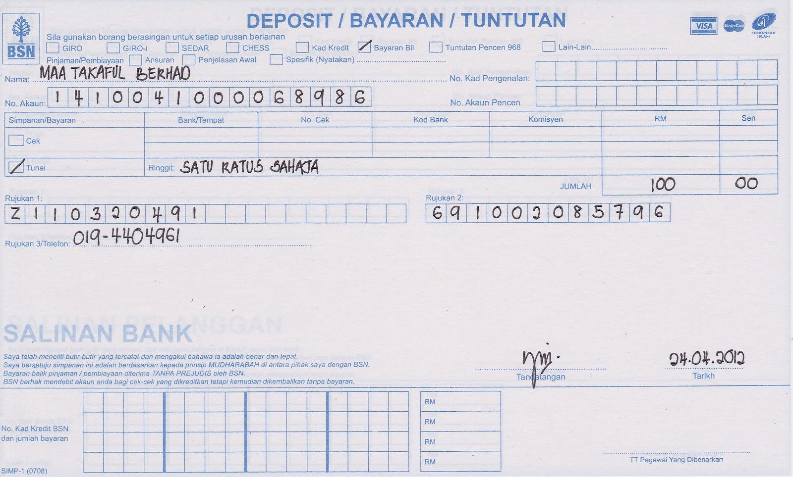 Maa Takaful Berhad Agensi Ikhwan Bank Simpanan Nasional Over The Counter Method
