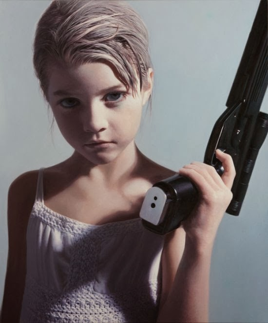 Gottfried Helnwein paintings hyper-realistic little girls injured innocence violence Little and armed