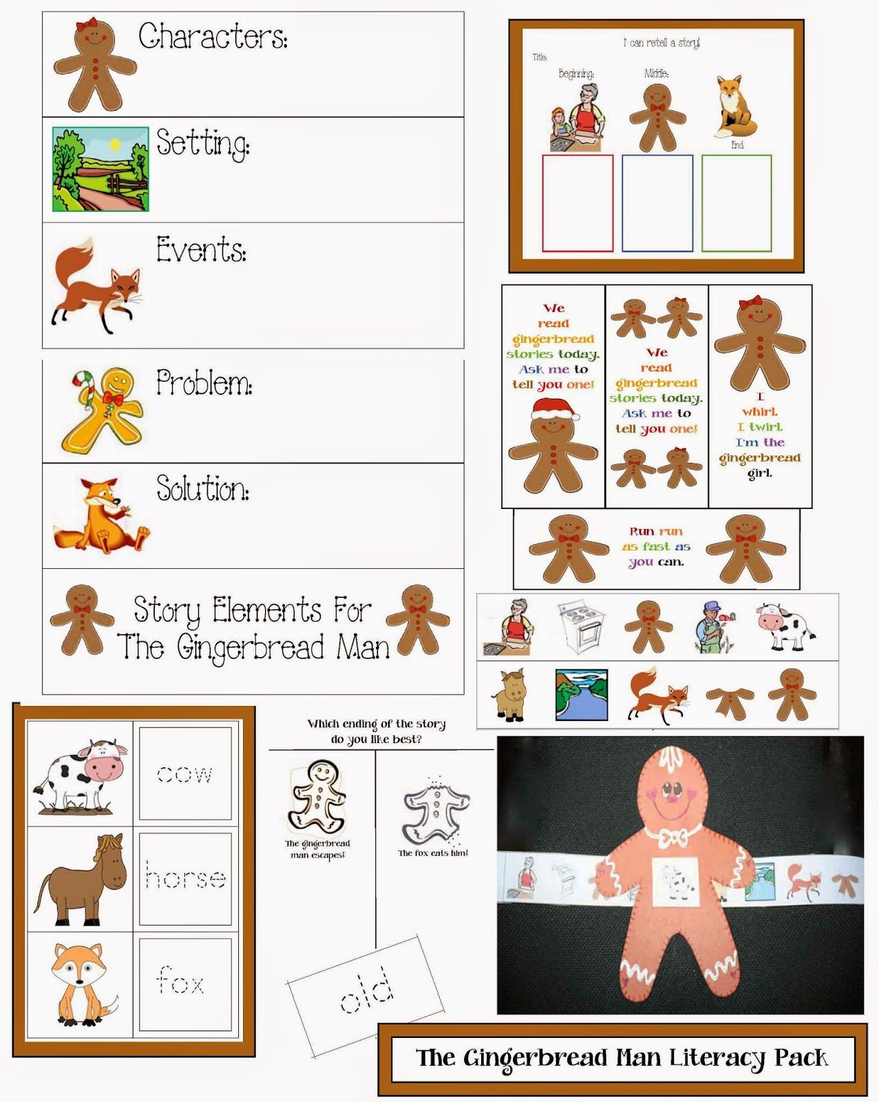 This 16-page, Gingerbread Man Literacy packet, contains activities ...