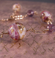 purple, white, aventurine and gold venetian murano glass beads, ametrine and gold fill bracelet