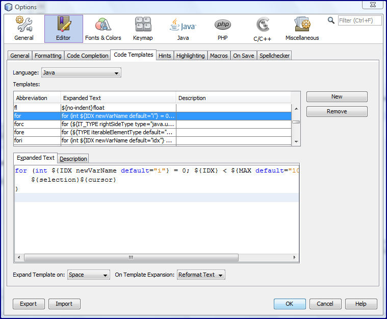 Bending netbeans code templates to my will javaworld for What is template in java