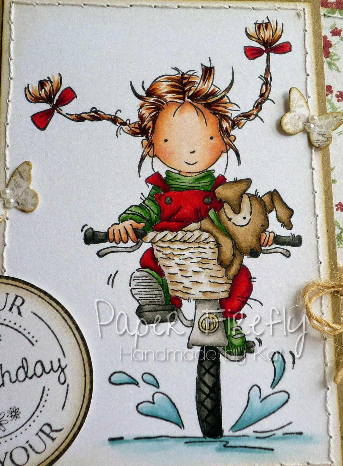 Shaped birthday card with girl and dog on bike