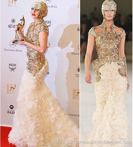 Лейди Гага златна рокля Alexander McQueen