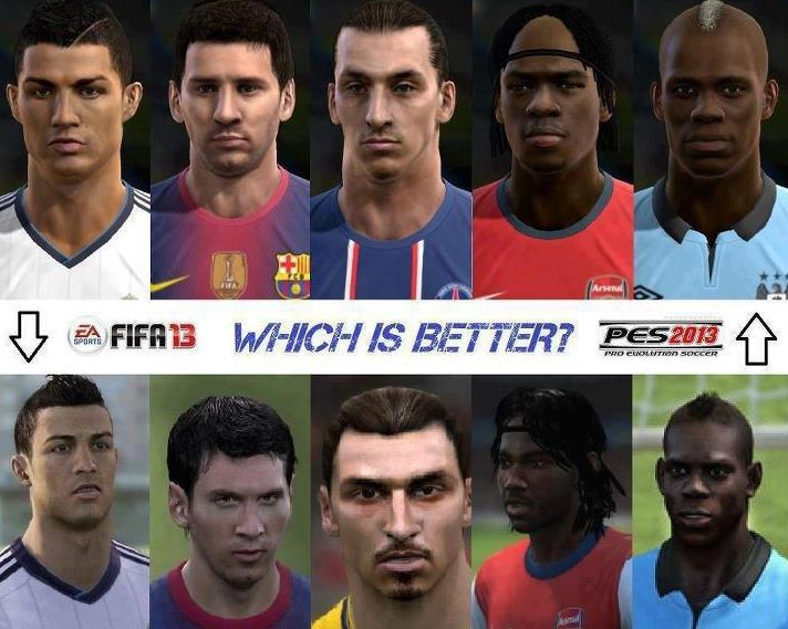 Graphic difference between PES 13 and FIFA 13