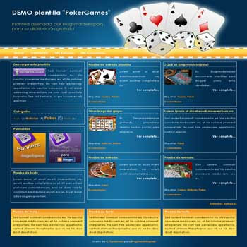 PokerGames blogger template with 3 column footer Blogger Template. template for games blog