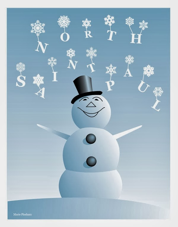Giant Snowman North St Paul Minnesota - MN Roadside Attraction Travel Poster