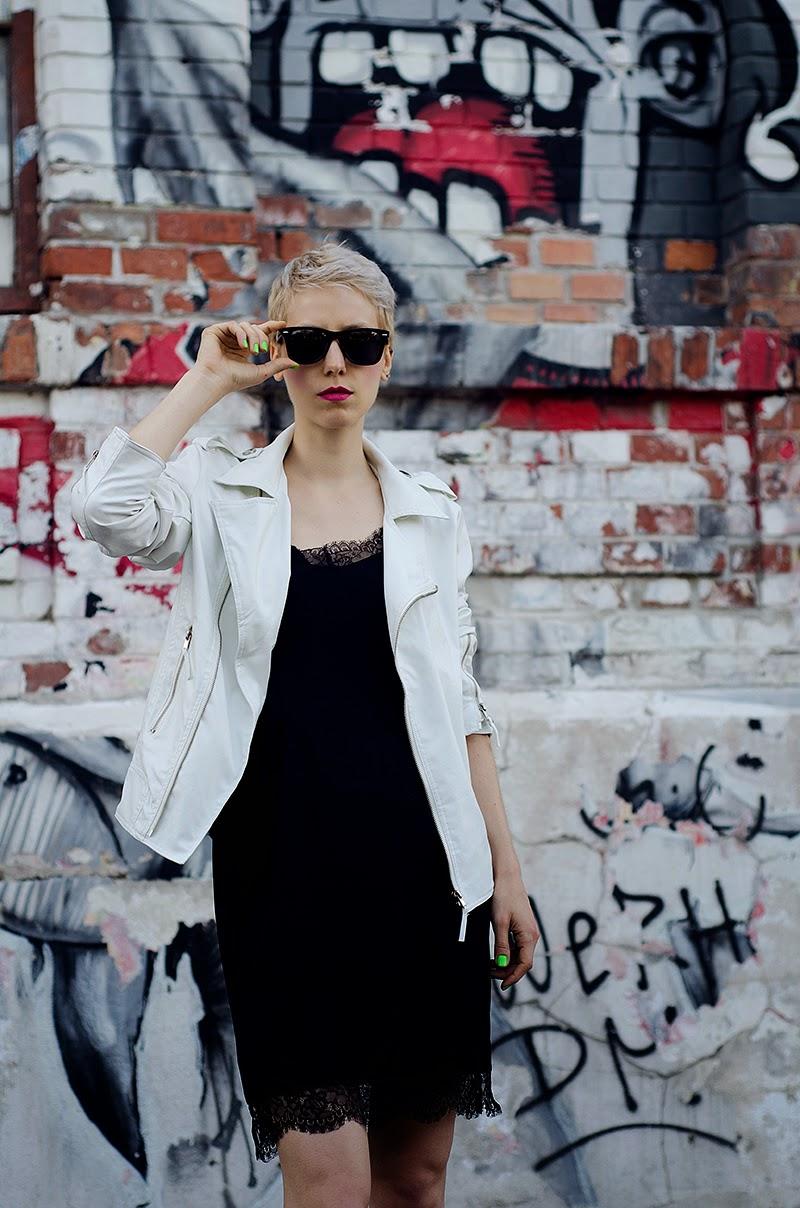 white leather jacket lingerie dress beeswonderland