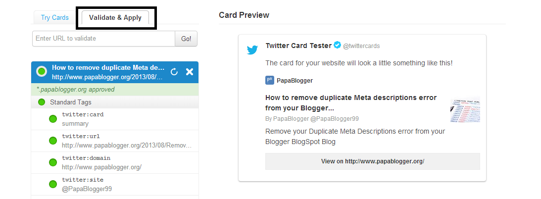 Twitter Card Validation Page