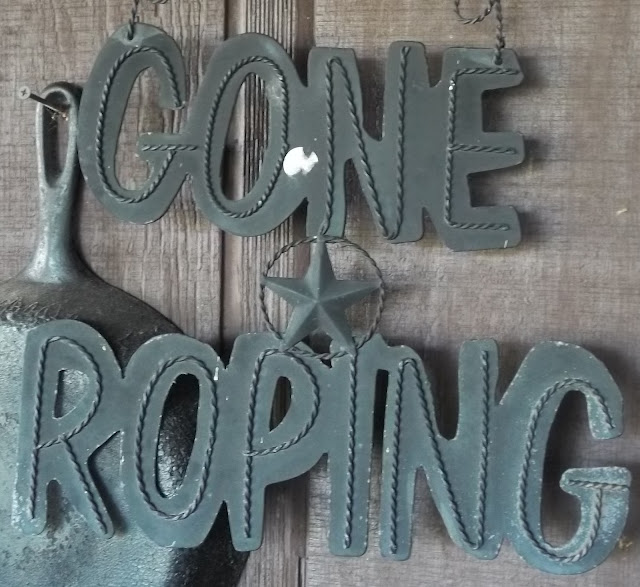 "Creative Country Sayings: Rodeo: Gone Roping!"" Wrought Iron Sign"