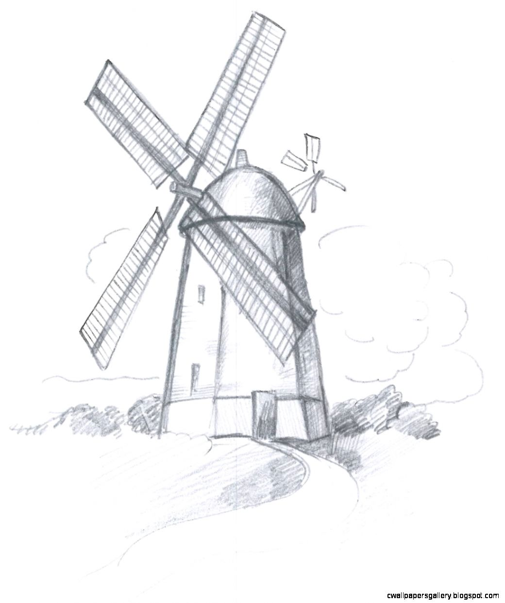 Old Windmill Drawing Sketch Coloring Page