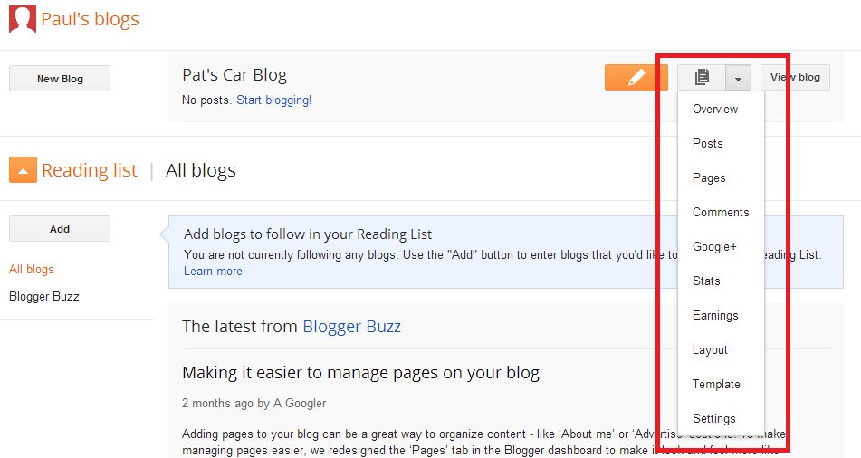 Blogger drop down menu for blog options