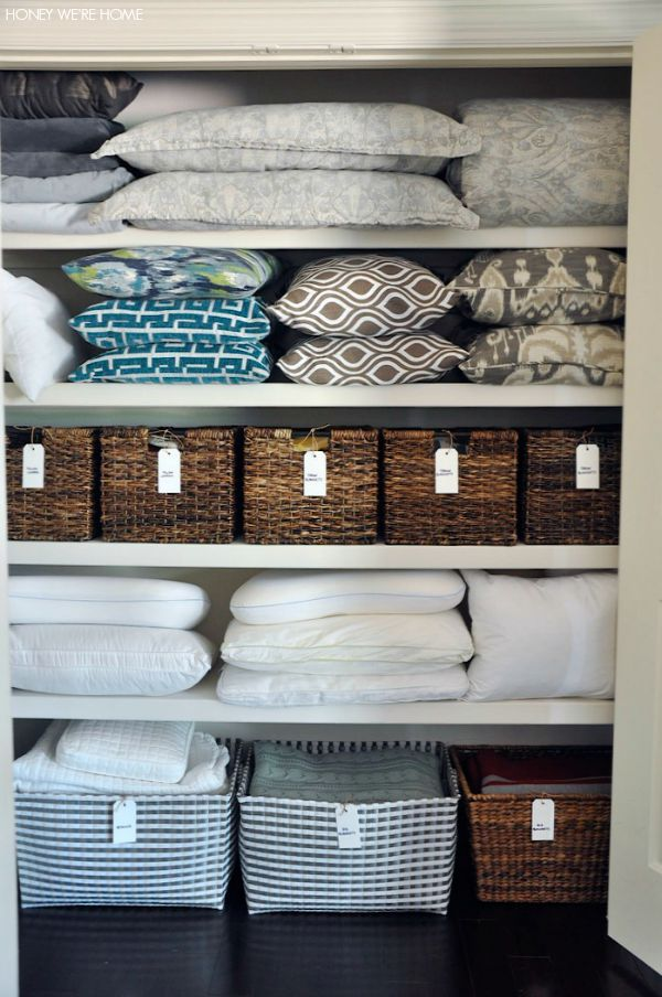 Organized Linen Closet with woven bins from Target and handwritten labels   Honey We're Home