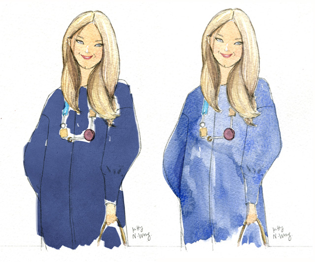 watercolour Anya Hindmarch portrait