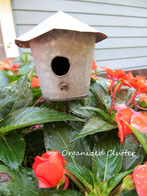 Galvanized Birdhouse Plant Pick