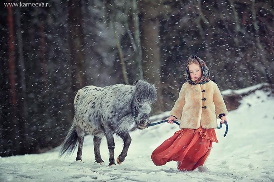 kids and animal playing