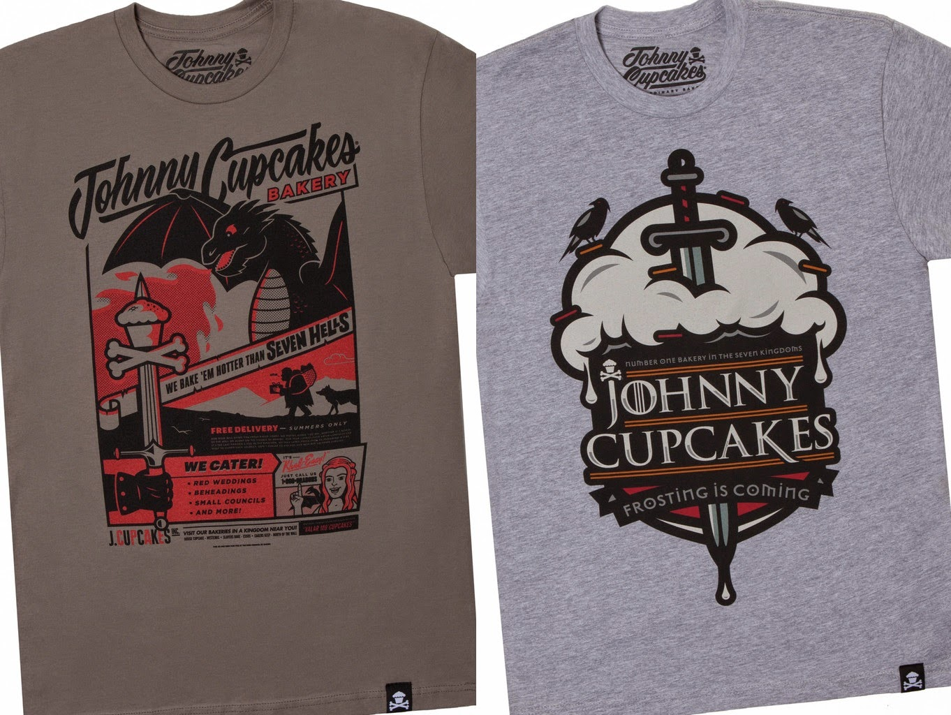 "Johnny Cupcakes x Game of Thrones T-Shirt Collection - ""Frosting Is Coming"" & ""Medieval Baker"" T-Shirts"