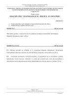 Subiect model discipline tehnologice - titularizare 2012