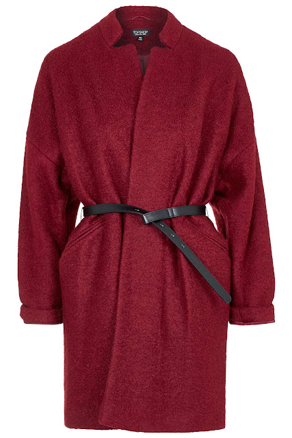 wine wool coat, topshop dark red coat,