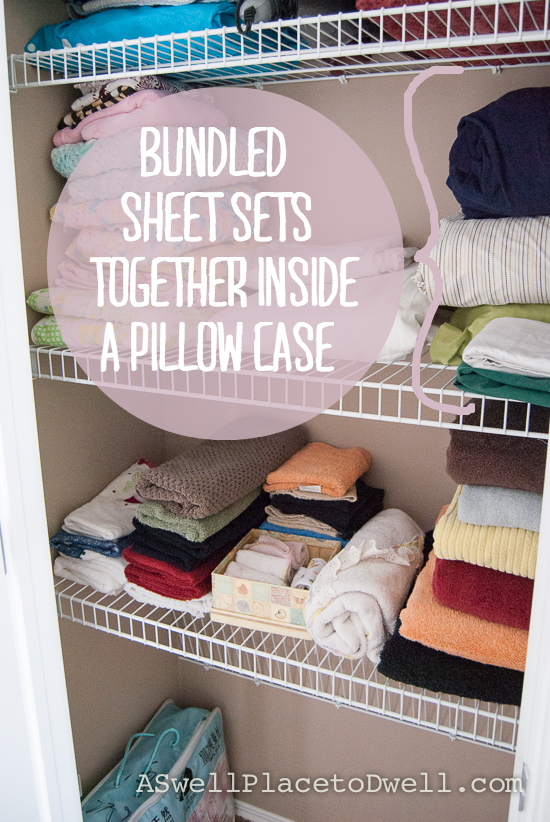 Bundle sheet sets together inside a pillow case.  When it's time to make the bed just grab the bundle and go. // www.aswellplacetodwell.com