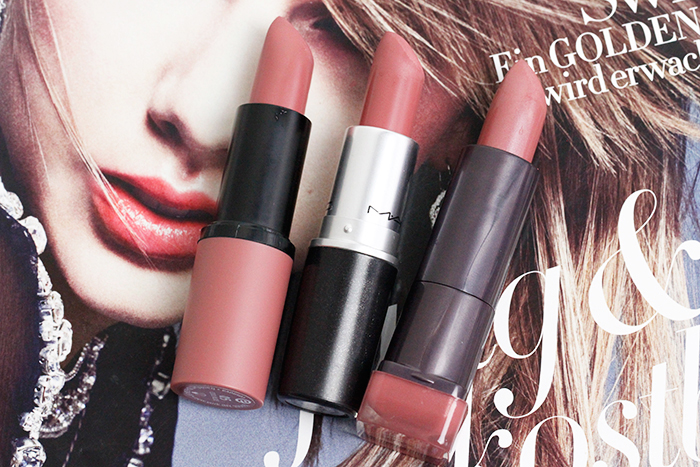 "essence ""05 Cool Nude"", Mac ""Faux"", Covergirl ""265 Romance Romantique"" lipstick"