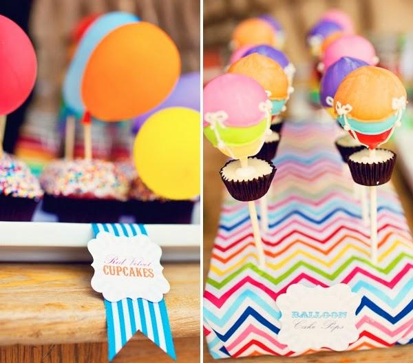 Pastelitos para fiestas con globos