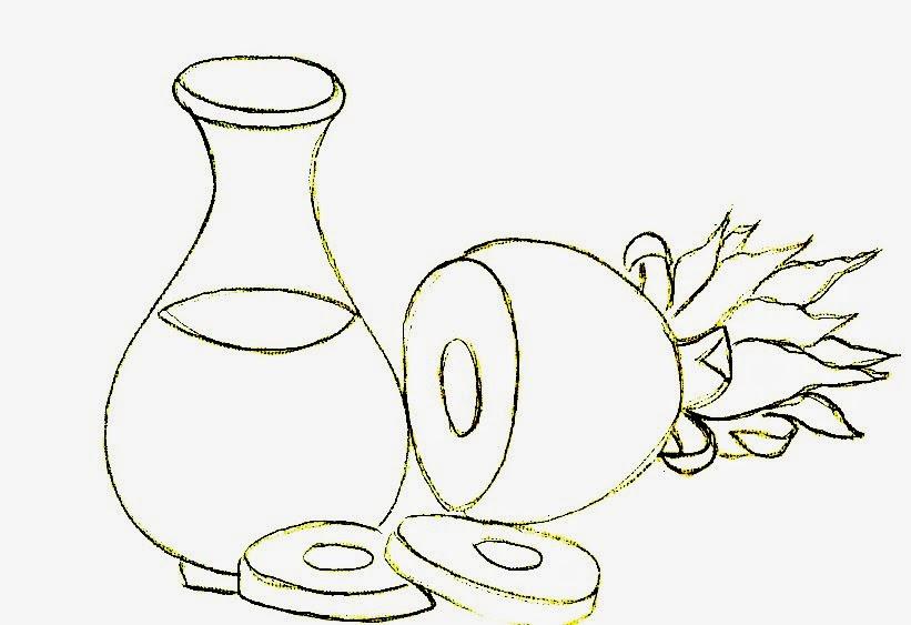 desenho de abacaxi com jarra de suco para pintar