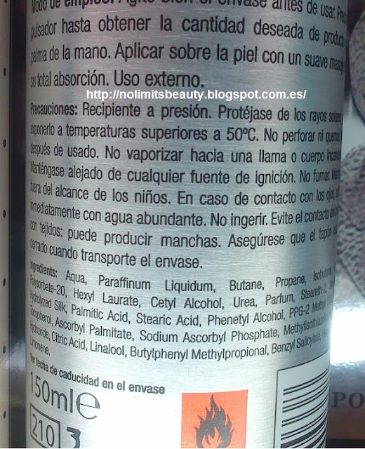 Detalle de los ingredientes del body milk en mousse del set de baño de Oro Blanco de Deliplús