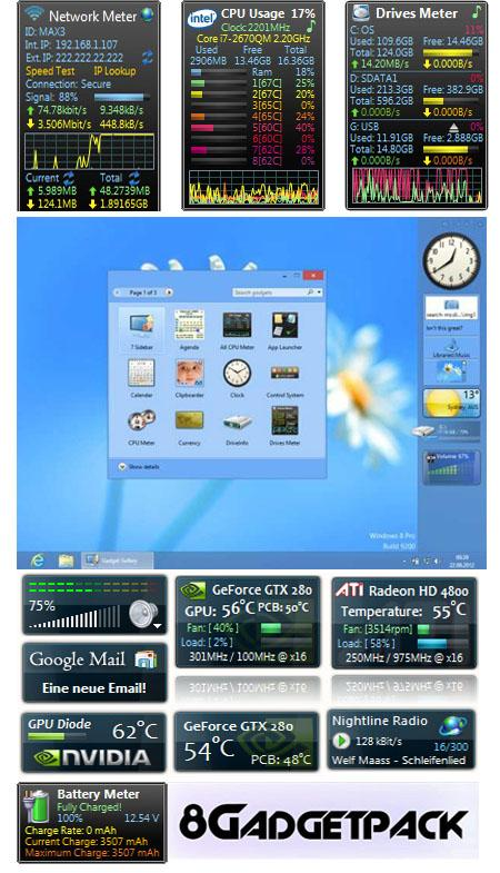 8GadgetPack 4.0.1 for Windows 8 Gadget Full