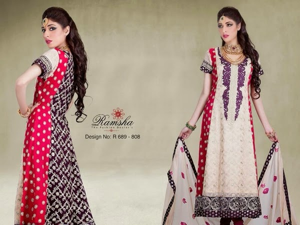 Ramsha Chiffon Embroidered Collection 2014