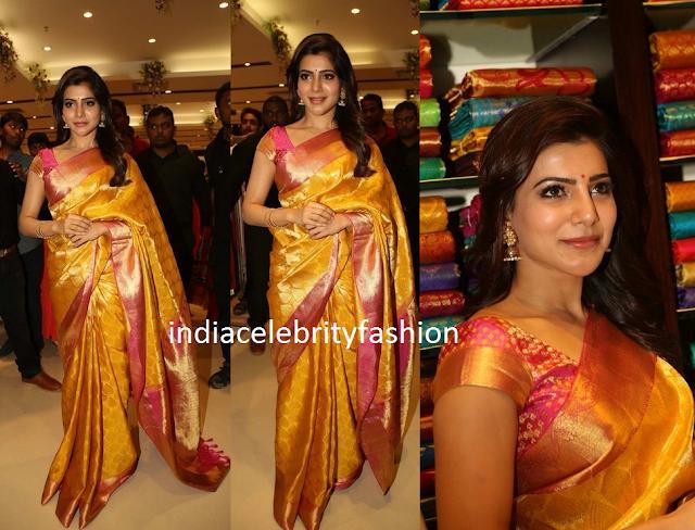 Samantha in Yellow Gold Kanjivaram saree